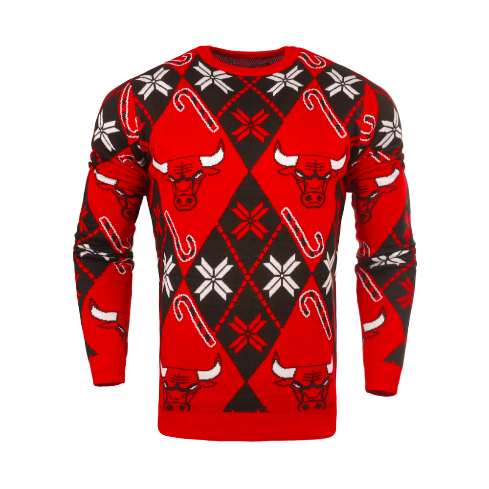 cbd31d25d9de Forever Collectibles NBA Chicago Bulls Candy Cane Ugly Sweater - Fan ...