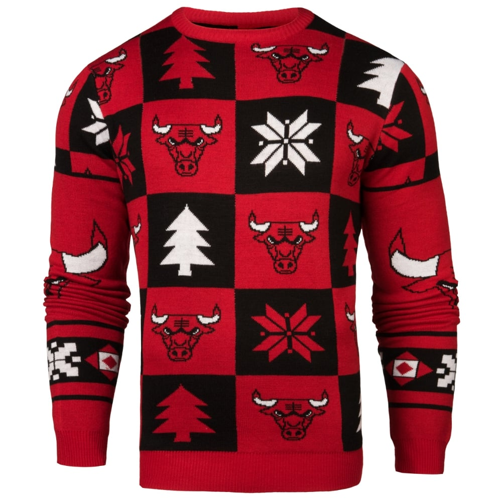 new product f5b76 e6136 NBA Chicago Bulls Patches Ugly Sweater