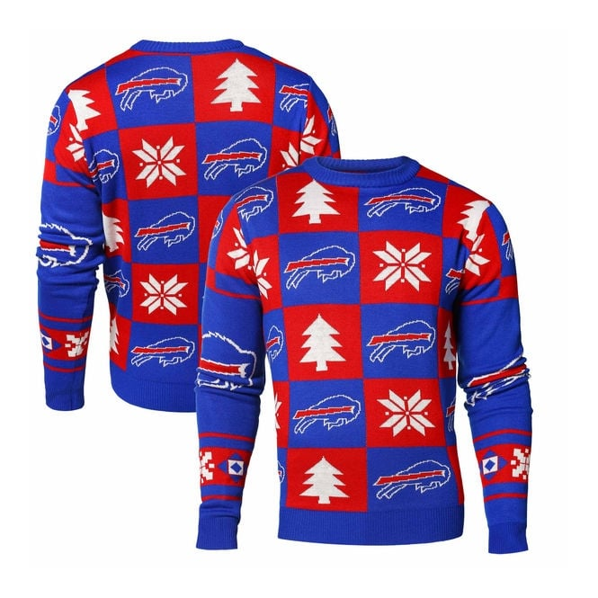 Forever Collectibles NFL Buffalo Bills Patches Ugly Sweater