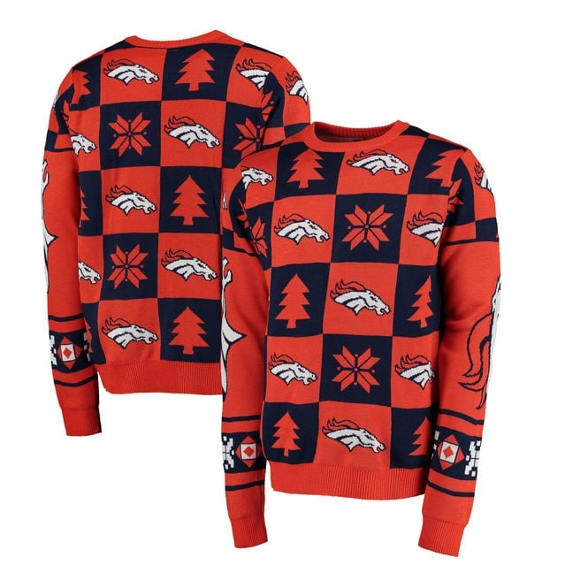 Forever Collectibles NFL Denver Broncos Patches Ugly Sweater