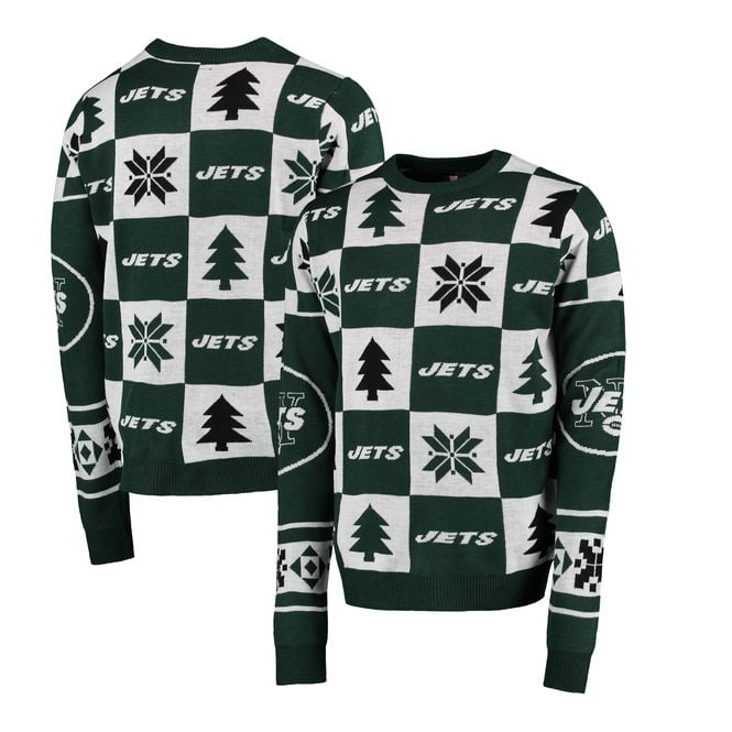 Forever Collectibles NFL New York Jets Patches Ugly Sweater