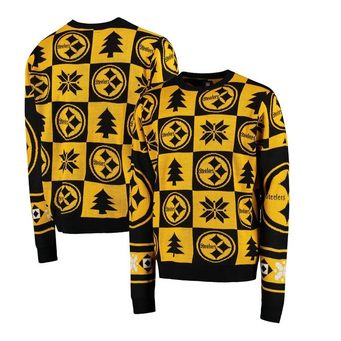 Forever Collectibles NFL Pittsburgh Steelers Patches Ugly Sweater
