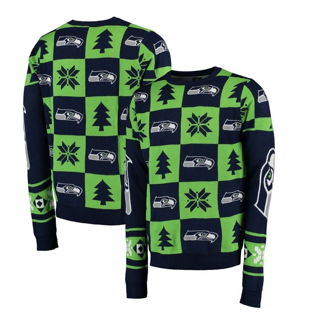 Forever Collectibles NFL Seattle Seahawks Patches Ugly Sweater