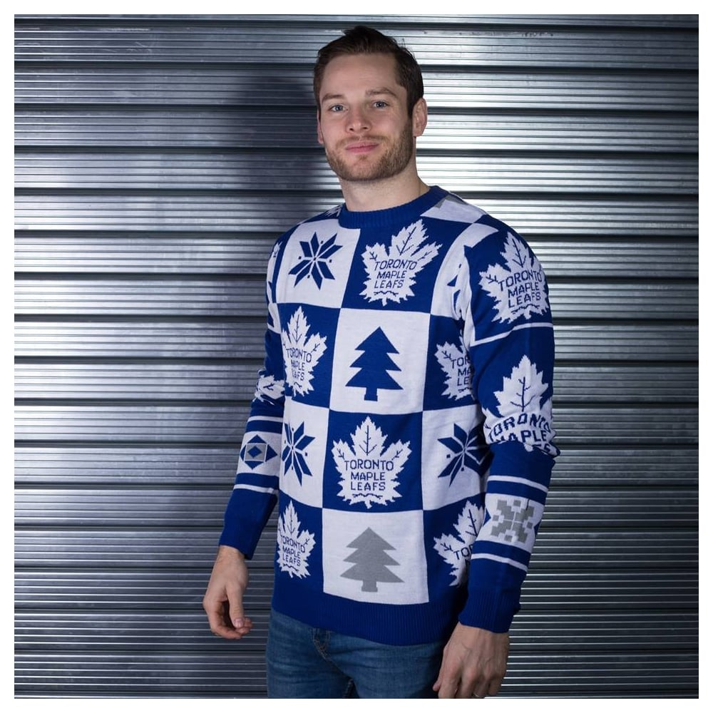 c2a21a4386e Forever Collectibles NHL Toronto Maple Leafs Patches Ugly Sweater ...