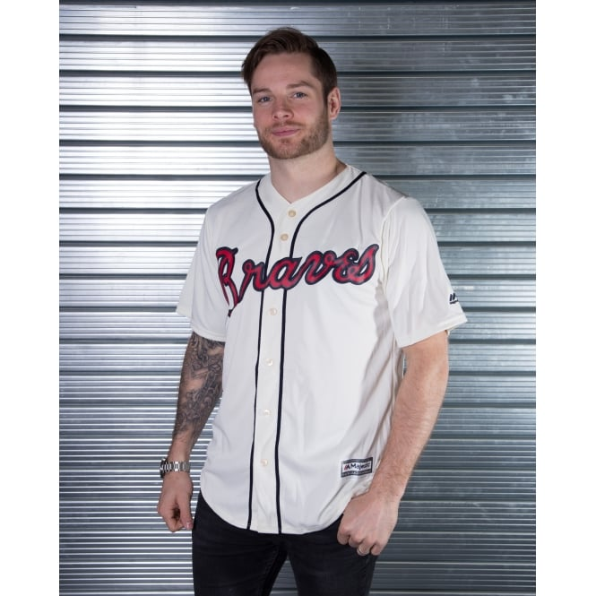 Majestic Athletic MLB Atlanta Braves Ivory Cool Base Jersey