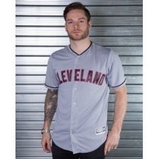 MLB Cleveland Indians Grey Cool Base Jersey
