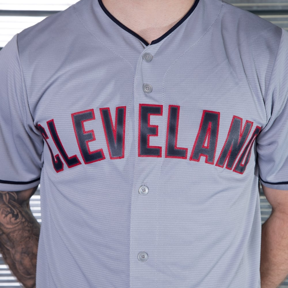 detailed look 40eab e7dcc Majestic Athletic MLB Cleveland Indians Grey Cool Base Jersey