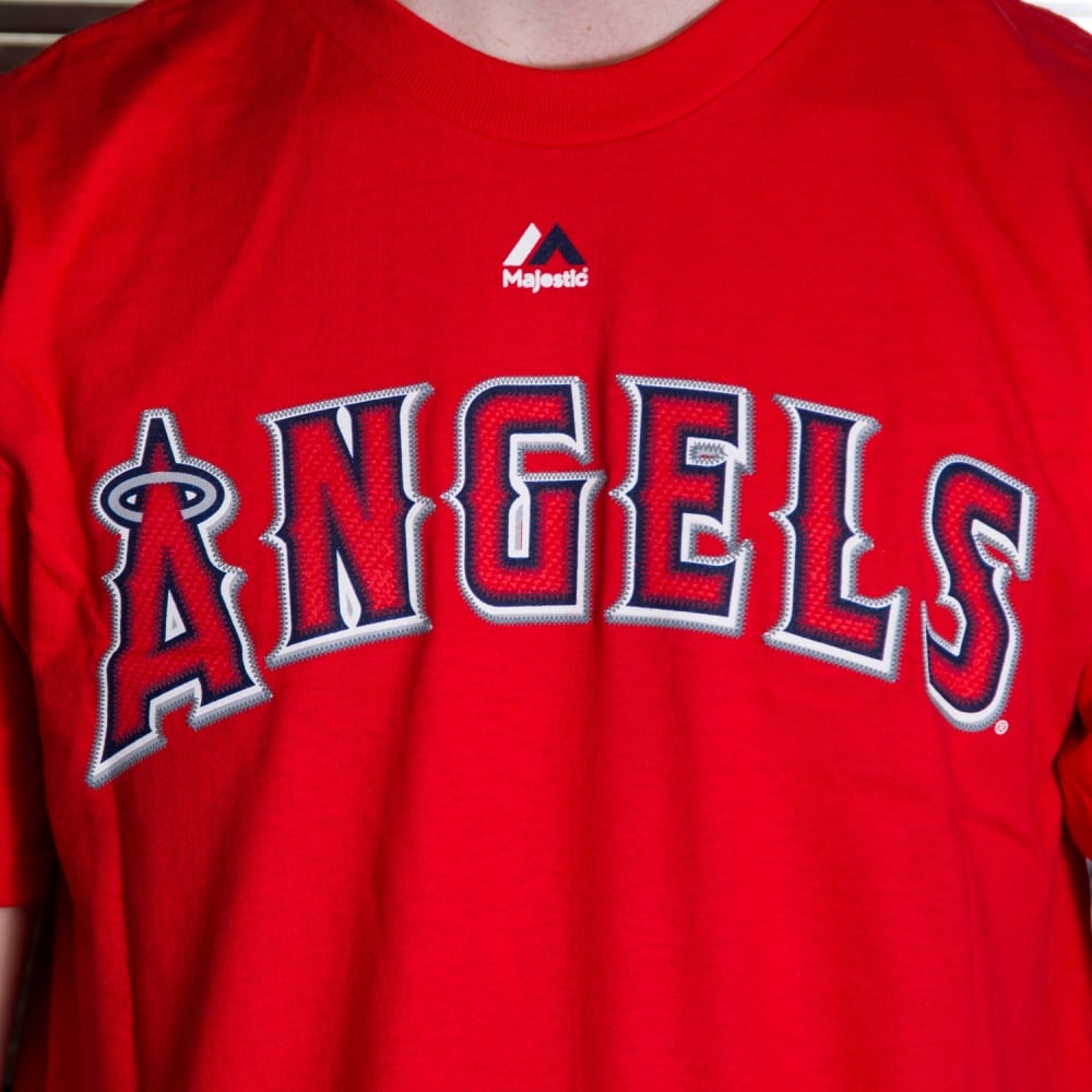 4725675fbee MLB Los Angeles Angels Mike Trout Red Official Name and Number T-Shirt
