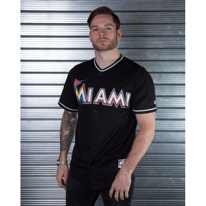 Majestic Athletic MLB Miami Marlins Black Cool Base Jersey