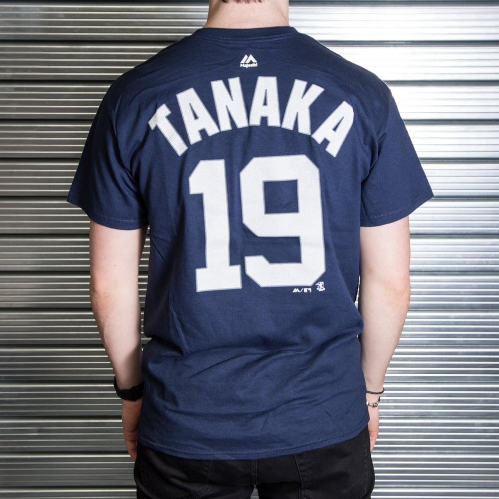 new product 0fa60 4679d MLB New York Yankees Masahiro Tanaka Navy Official Name and Number T-Shirt