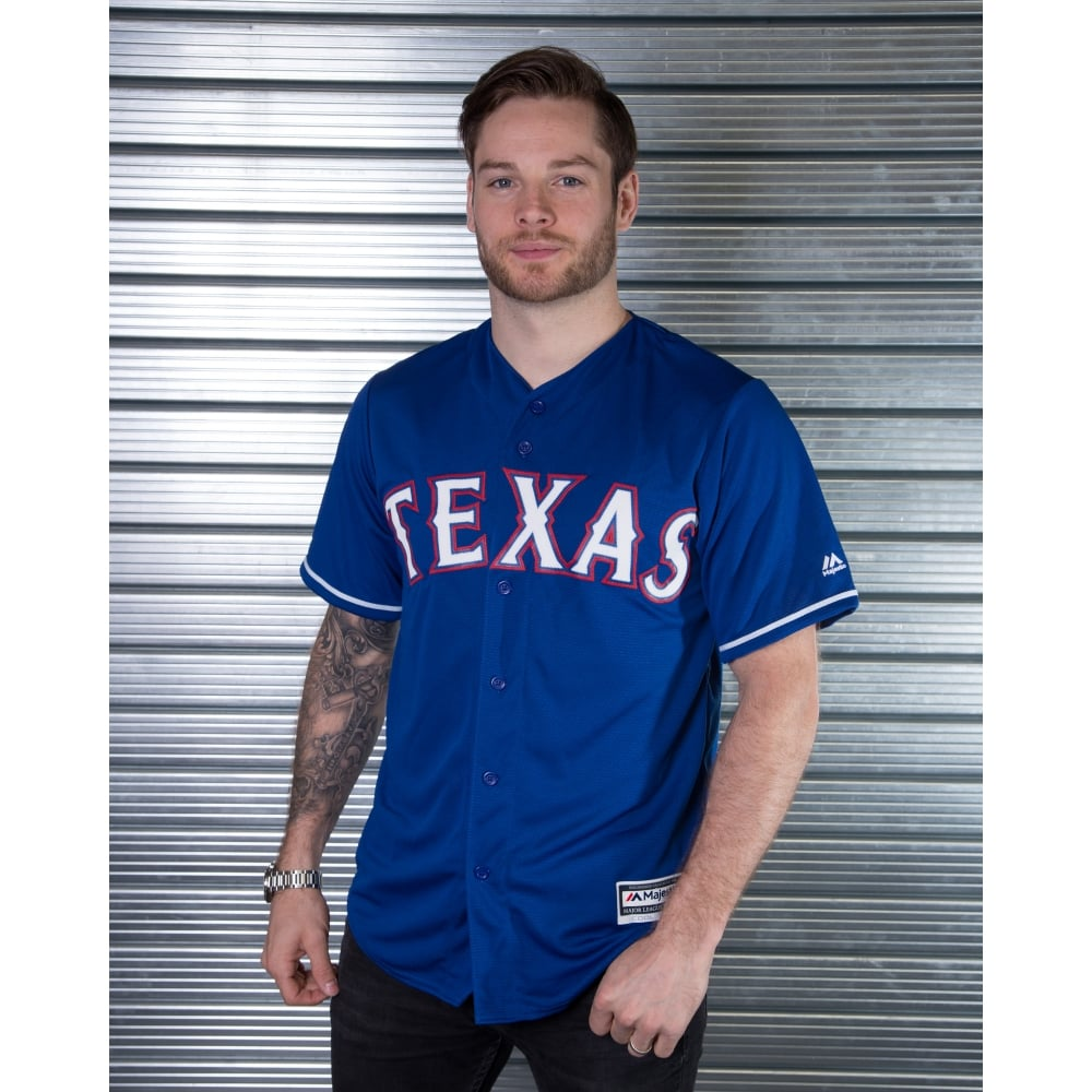 purchase cheap c72a7 09496 Majestic Athletic MLB Texas Rangers Blue Cool Base Jersey
