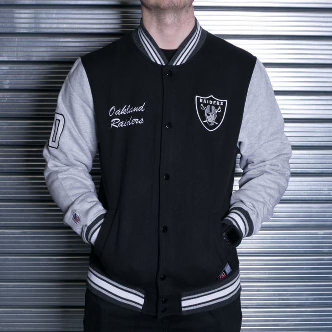 Majestic Athletic NFL Oakland Raiders Hartmen Fleece Letterman Jacket