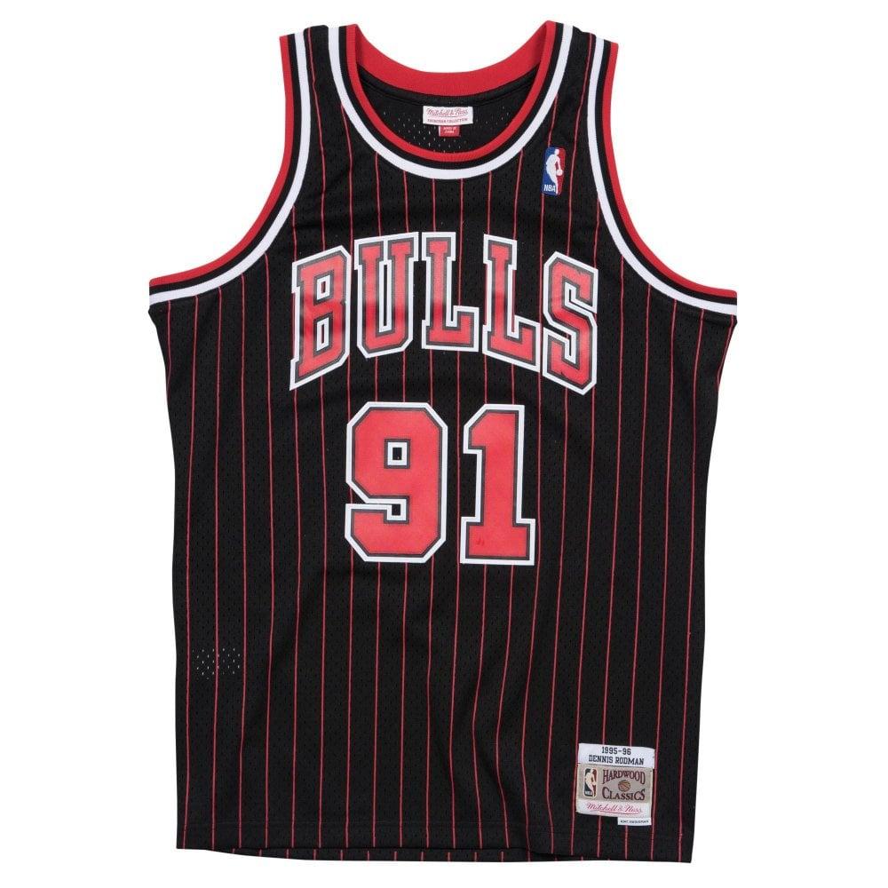 b43cd35459d NBA Chicago Bulls Dennis Rodman 1995-96 Swingman Jersey Black Pinstripe