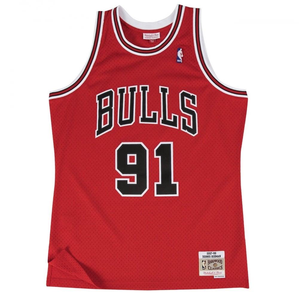 quality design 63d1d 4214a NBA Chicago Bulls Dennis Rodman 1997-98 Swingman Jersey Red