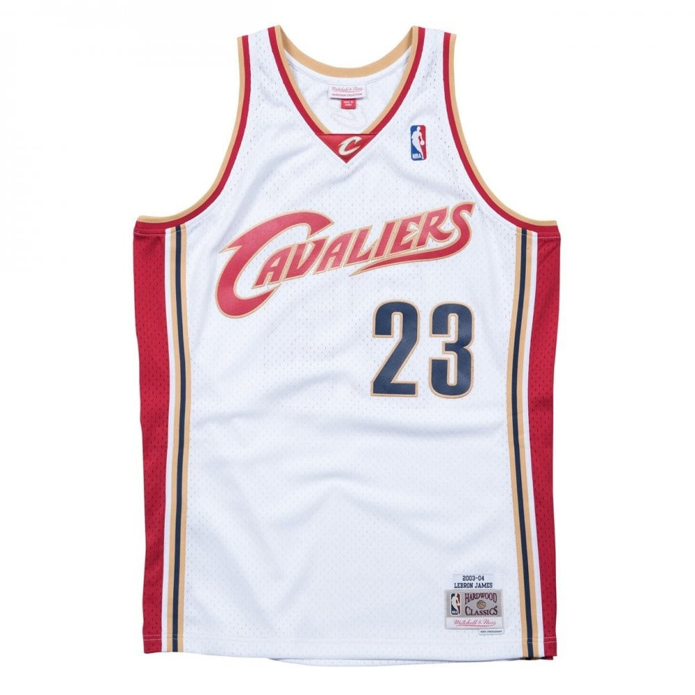 sale retailer 91898 13998 Mitchell & Ness NBA Cleveland Cavaliers LeBron James 2003-2004 Swingman  Jersey White
