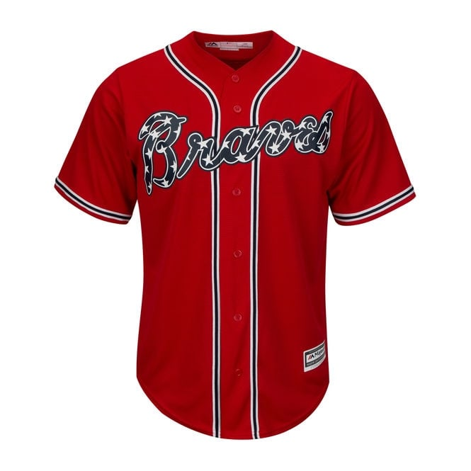 newest a6de0 014f2 MLB Atlanta Braves Cool Base Alternate Red Jersey