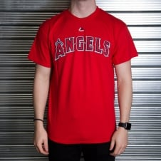MLB Los Angeles Angels Mike Trout Red Official Name and Number T-Shirt