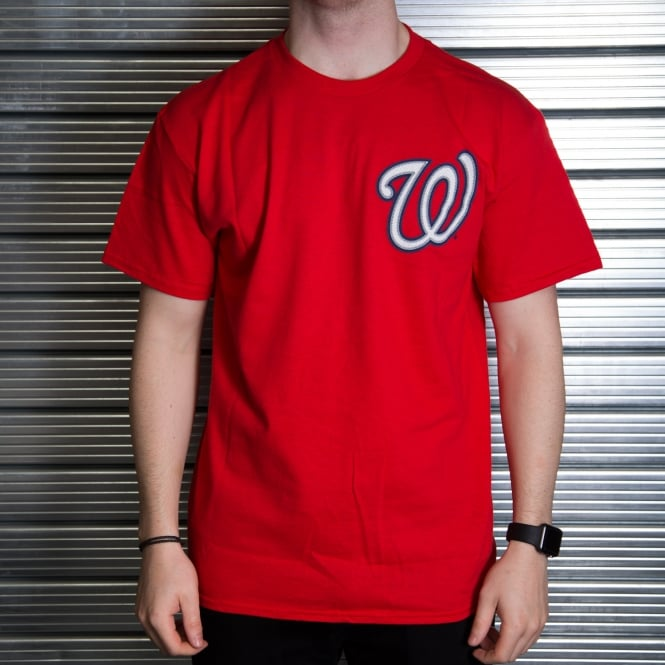 Majestic Athletic MLB Washington Nationals Bryce Harper Red Official Name and Number T-Shirt