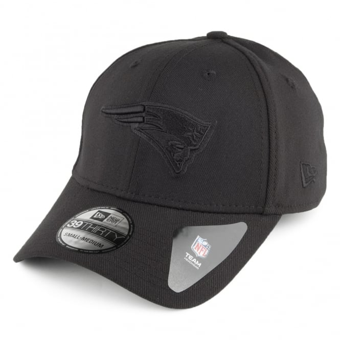 New Era NFL New England Patriots Black On Black Poly 39Thirty Stretch Fit Cap