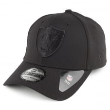 NFL Oakland Raiders Black On Black Poly 39Thirty Stretch Fit Cap