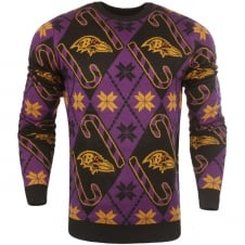 NFL Baltimore Ravens Candy Cane Ugly Sweater