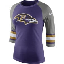 NFL Baltimore Ravens Women's Stripe Sleeve Raglan Tri T-Shirt