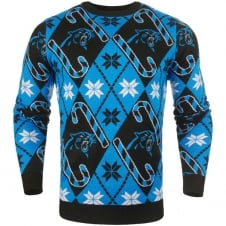 NFL Carolina Panthers Candy Cane Ugly Sweater