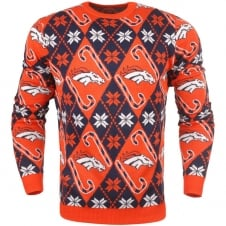 NFL Denver Broncos Candy Cane Ugly Sweater