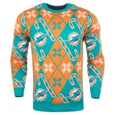 NFL Miami Dolphins Candy Cane Ugly Sweater