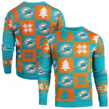 NFL Miami Dolphins Patches Ugly Sweater