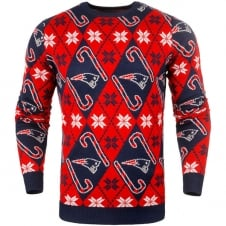 NFL New England Patriots Candy Cane Ugly Sweater