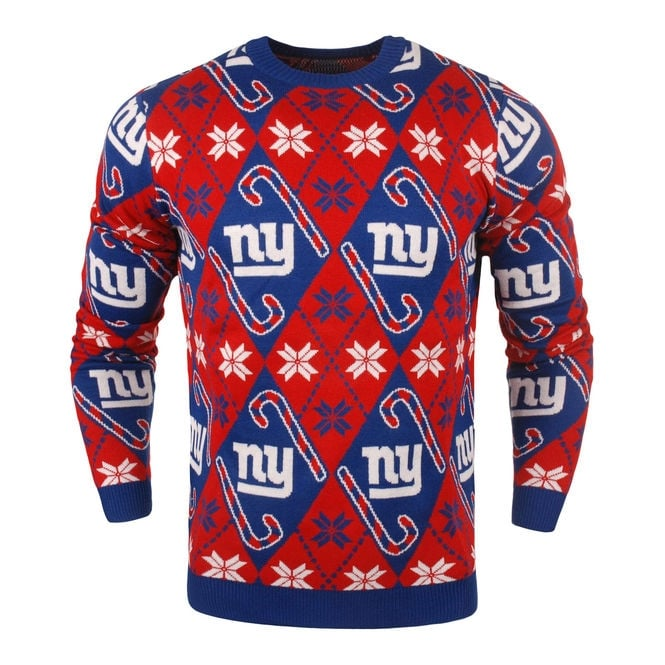 Forever Collectibles NFL New York Giants Candy Cane Ugly Sweater