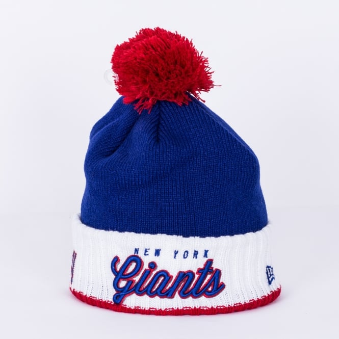 New Era NFL New York Giants White Cuff Pom Time Pom Knit