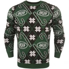 NFL New York Jets Candy Cane Ugly Sweater