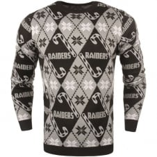 NFL Oakland Raiders Candy Cane Ugly Sweater