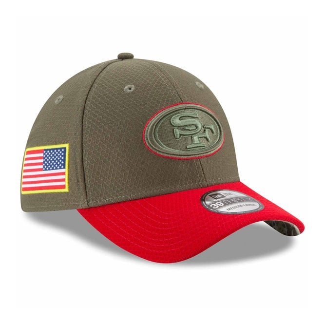 192e5eccc4fc1 New Era NFL San Francisco 49ers 2017 Salute to Service 39Thirty Cap ...