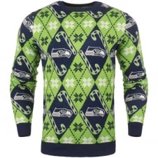 NFL Seattle Seahawks Candy Cane Ugly Sweater