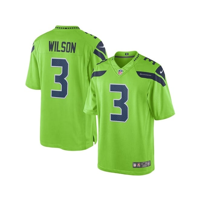 Nike NFL Seattle Seahawks Color Rush Limited Game Jersey - Russell Wilson
