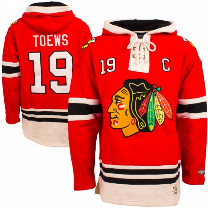 Old Time Hockey NHL Chicago Blackhawks Jonathan Toews Name & No. Lace Jersey Hood