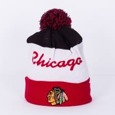 NHL Chicago Blackhawks Script Cuff Pom Knit
