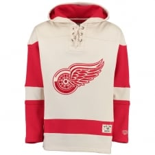 NHL Detroit Red Wings White Vintage Lacer Jersey Hood