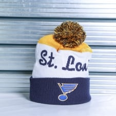 NHL St. Louis Blues Script Cuff Pom Knit