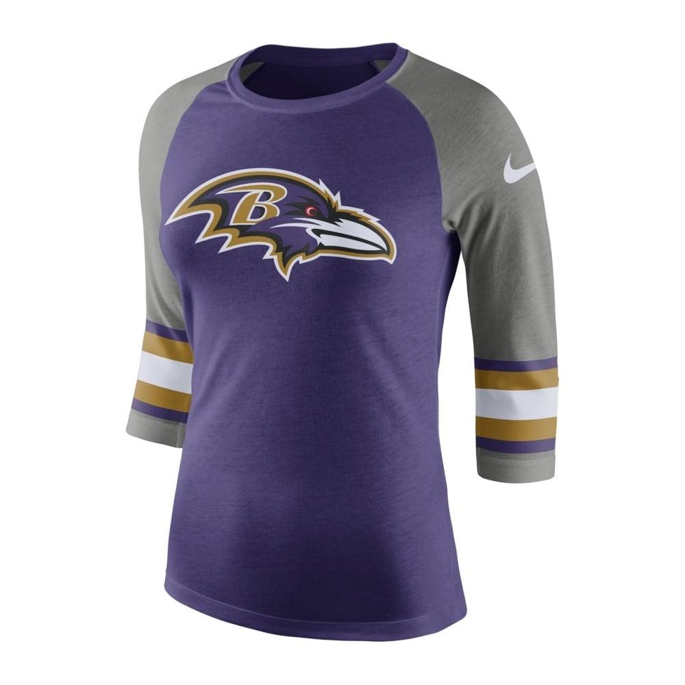 4dbd04a7 Nike NFL Baltimore Ravens Women's Stripe Sleeve Raglan Tri T-Shirt ...