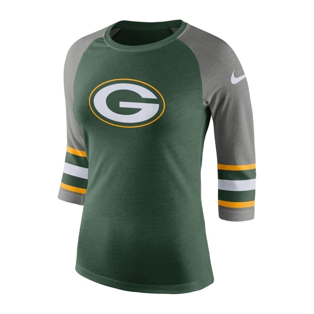 Nike NFL Green Bay Packers Women s Stripe Sleeve Raglan Tri T-Shirt ... 3ea1087d3e