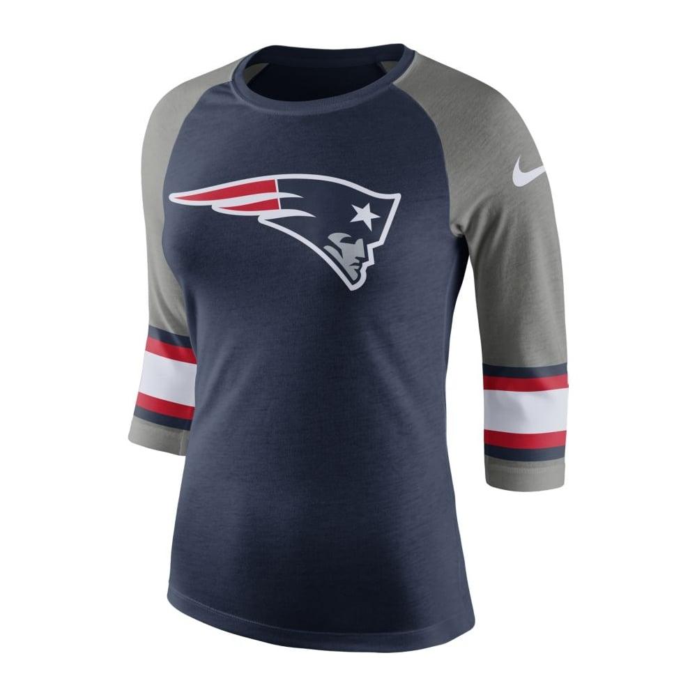 f043f44ef3d NFL New England Patriots Women  039 s Stripe Sleeve Raglan Tri T-Shirt