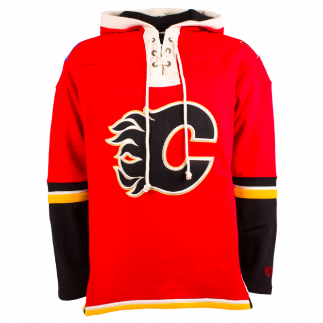 Old Time Hockey NHL Calgary Flames Red Lace Jersey Hood