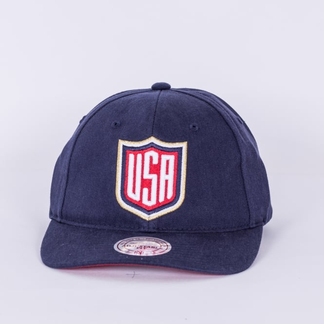Mitchell & Ness World Cup Of Hockey Team USA Blue Adjustable Backstrap Cap